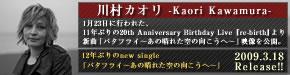 川村カオリ 1月23日に行われた、11年ぶりの20th Anniversary Birthday Live 『re-birth』より新曲「バタフライ~あの晴れた空の向こうへ~」映像を公開。